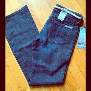 Mavi jeans, dark wash color.